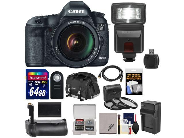 Canon EOS 5D Mark III Digital SLR Camera with EF 24-105mm L IS USM Lens with 64GB Card + Battery + Charger + Backpack + ...