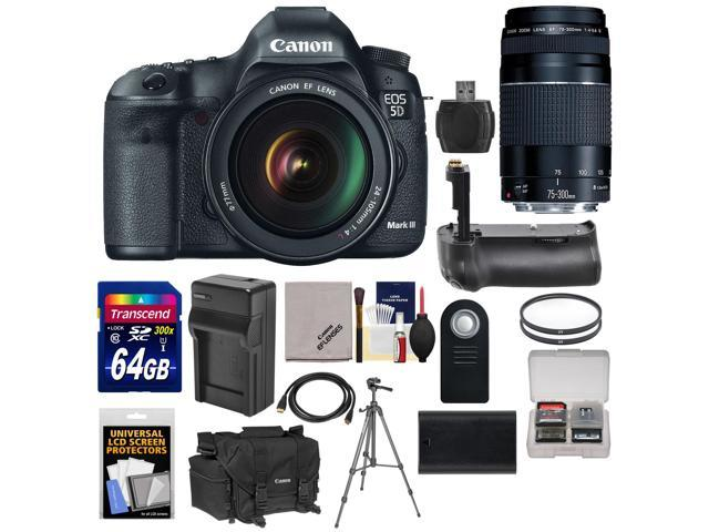 Canon EOS 5D Mark III Digital SLR Camera with EF 24-105mm L IS USM Lens & 75-300mm III Lens + 64GB Card + Grip + ...