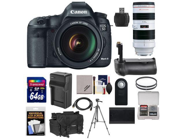 Canon EOS 5D Mark III Digital SLR Camera with EF 24-105mm L IS USM Lens & 70-200mm f/2.8L USM Lens + 64GB Card + Grip ...