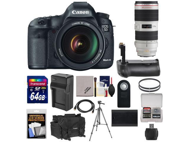 Canon EOS 5D Mark III Digital SLR Camera with EF 24-105mm L IS USM Lens & 70-200mm f/2.8 L IS II Lens + 64GB Card ...