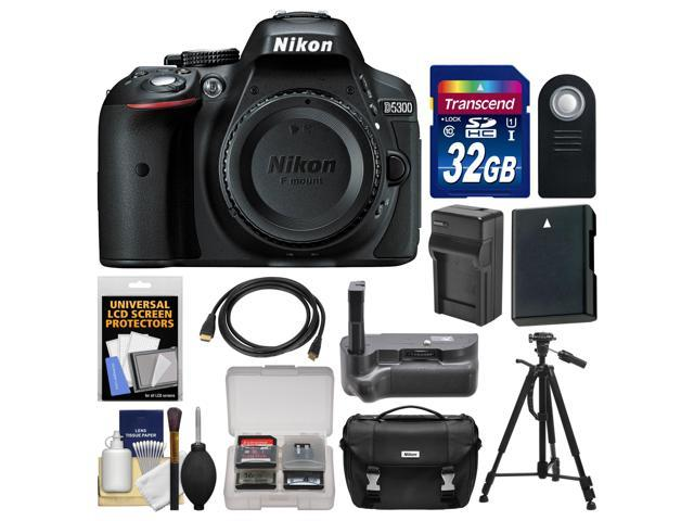 Nikon D5300 Digital SLR Camera Body (Black) with 32GB Card + Case + Grip + Battery & Charger + Tripod + HDMI Cable + Remote ...