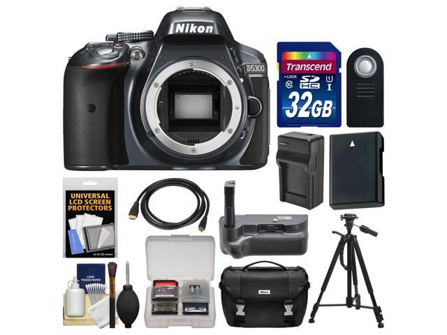Nikon D5300 Digital SLR Camera Body (Grey) with 32GB Card + Case + Grip + Battery & Charger + Tripod + HDMI Cable + Remote ...