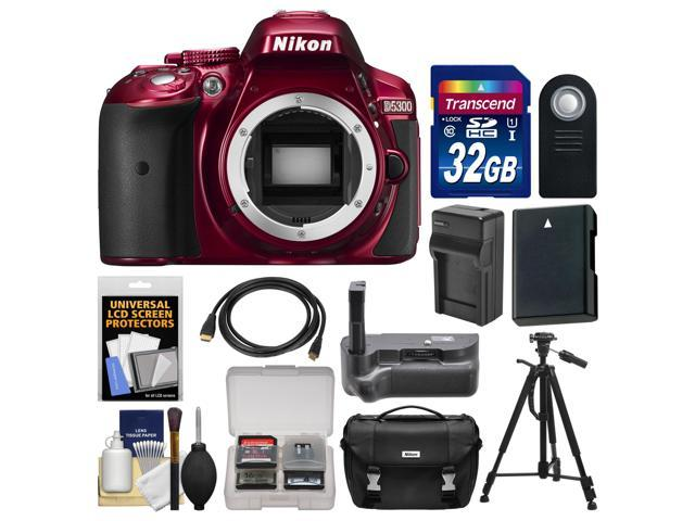 Nikon D5300 Digital SLR Camera Body (Red) with 32GB Card + Case + Grip + Battery & Charger + Tripod + HDMI Cable + Remote ...