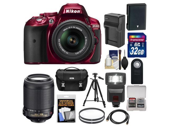 Nikon D5300 Digital SLR Camera & 18-55mm G VR DX II AF-S Zoom Lens (Red) with 55-200mm VR II Lens + 32GB Card + Battery ...