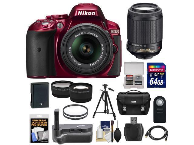 Nikon D5300 Digital SLR Camera & 18-55mm G VR DX II AF-S Zoom Lens (Red) with 55-200mm VR II Lens + 64GB Card + Battery ...