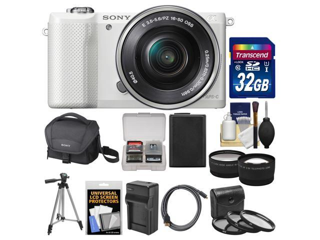 Sony Alpha A5000 Wi-Fi Digital Camera & 16-50mm Lens (White) with 32GB Card + Case + Battery & Charger + Tripod + HDMI Cable + ...