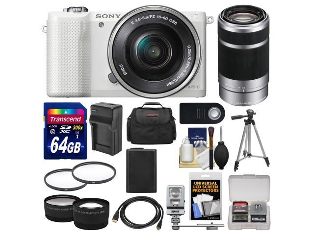Sony Alpha A5000 Wi-Fi Digital Camera & 16-50mm Lens (White) with 55-210mm Lens + 64GB Card + Case + Flash + Battery/Charger + Tripod Kit ...
