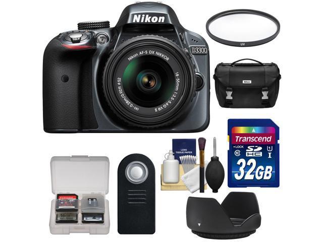 Nikon D3300 Digital SLR Camera & 18-55mm G VR DX II AF-S Zoom Lens (Grey) with 32GB Card + Case + Filter + Hood + ...