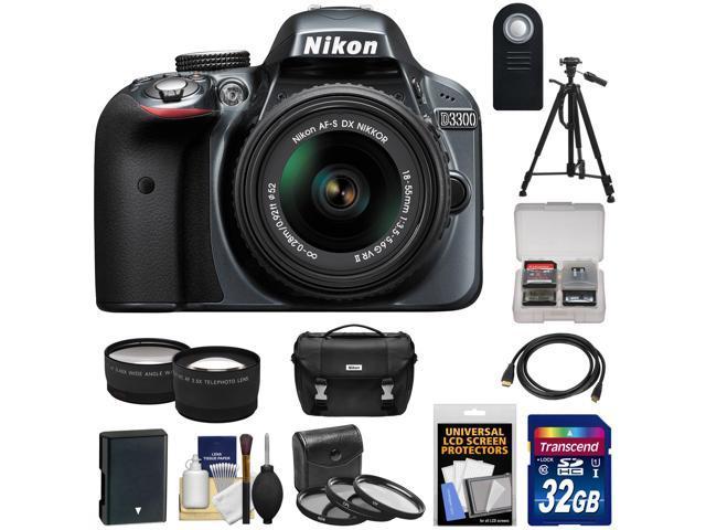 Nikon D3300 Digital SLR Camera & 18-55mm G VR DX II AF-S Zoom Lens (Grey) with 32GB Card + Battery + Case + Tripod + ...