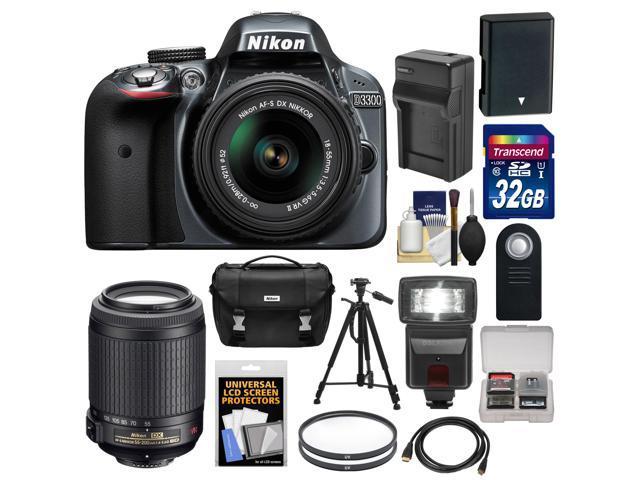 Nikon D3300 Digital SLR Camera & 18-55mm G VR DX II AF-S Zoom Lens (Grey) with 55-200mm VR II Lens + 32GB Card + Battery ...