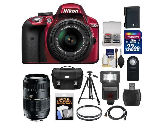 Nikon D3300 Digital SLR Camera & 18-55mm G VR DX II AF-S Zoom Lens (Red) with 70-300mm Lens + 32GB Card + Battery + Case ...