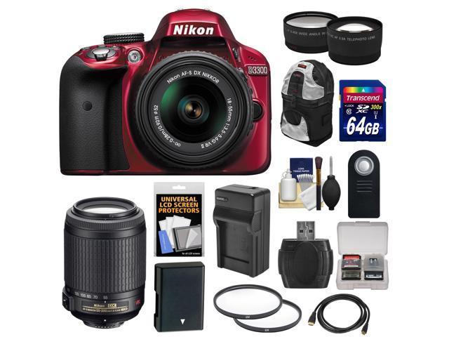 Nikon D3300 Digital SLR Camera & 18-55mm G VR DX II AF-S Zoom Lens (Red) with 55-200mm VR II Lens + 64GB Card + Backpack ...