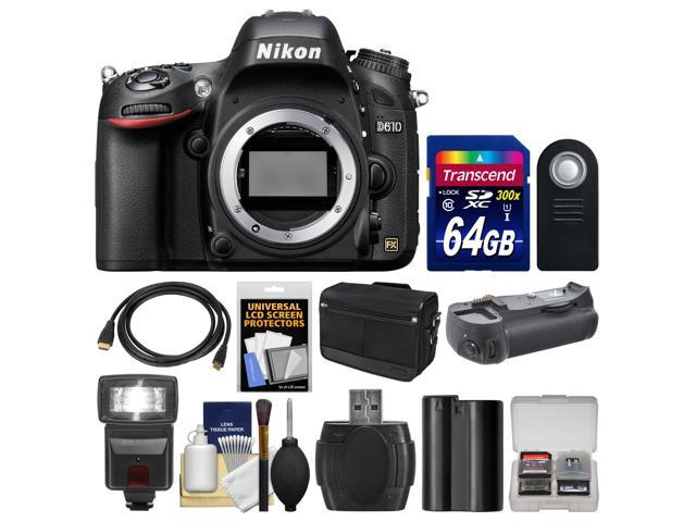 Nikon D610 Digital SLR Camera Body with 64GB Card + Case + Flash + Grip + Battery + HDMI Cable + Remote + Accessory Kit ...