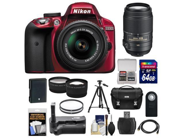 Nikon D3300 Digital SLR Camera & 18-55mm G VR DX II AF-S Zoom Lens (Red) with 55-300mm VR Lens + 64GB Card + Battery + ...