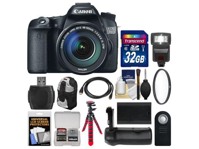 Canon EOS 70D Digital SLR Camera & EF-S 18-135mm IS STM Lens with 32GB Card + Backpack + Flash + Battery + Grip + Tripod ...
