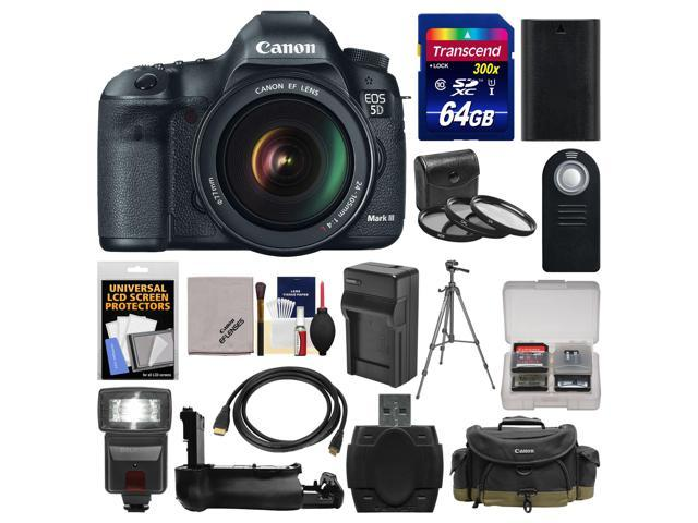 Canon EOS 5D Mark III Digital SLR Camera with EF 24-105mm L IS USM Lens with 64GB Card + Case + Flash + Battery/Charger + ...