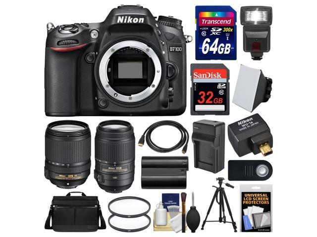 Nikon D7100 Digital SLR Camera with 18-140mm & 55-300mm VR Lenses, WU-1a, Bag & 32GB Card with 64GB Card + Flash + Battery & Charger ...