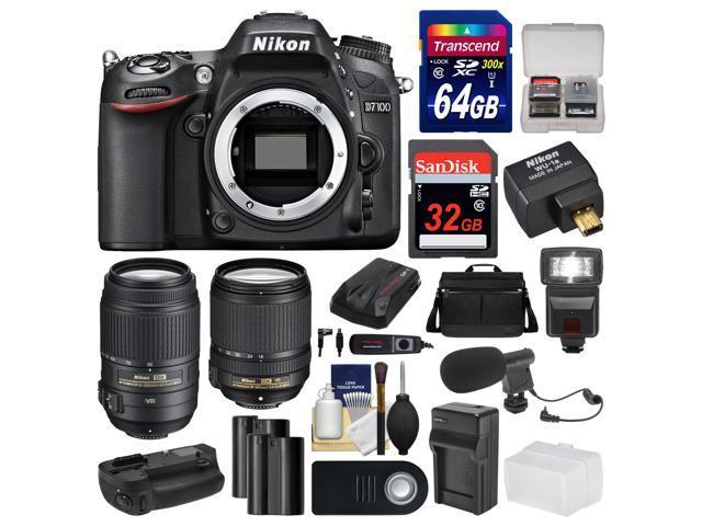 Nikon D7100 Digital SLR Camera with 18-140mm & 55-300mm VR Lenses, WU-1a, Bag & 32GB Card with 64GB Card + Flash + 2 Batteries & ...