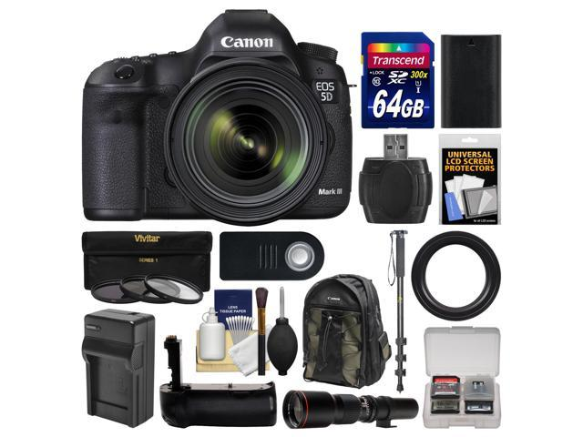 Canon EOS 5D Mark III Digital SLR Camera with EF 24-70mm f/4.0L IS USM Lens with 500mm Telephoto Lens + 64GB Card + Backpack + ...