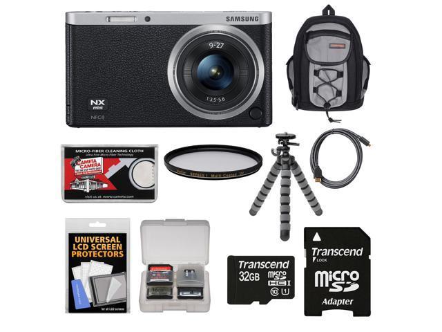 Samsung NX Mini Smart Wi-Fi Digital Camera with 9-27mm Lens & Flash (Black) with 32GB Card + Backpack + Filter + Flex Tripod + Accessory ...