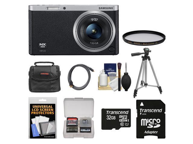 Samsung NX Mini Smart Wi-Fi Digital Camera with 9-27mm Lens & Flash (Black) with 32GB Card + Case + Filter + Tripod + Accessory Kit ...