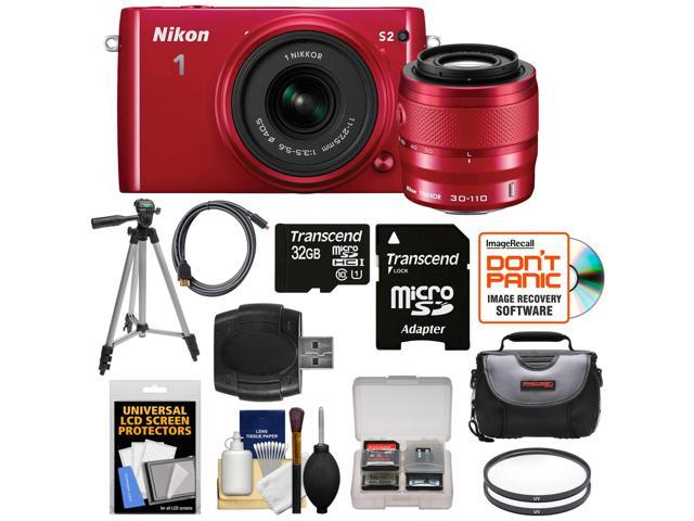 Nikon 1 S2 Digital Camera with 11-27.5mm & 30-110mm VR Lens (Red) with 32GB Card + Case + Tripod + Filters + HDMI Cable + ...