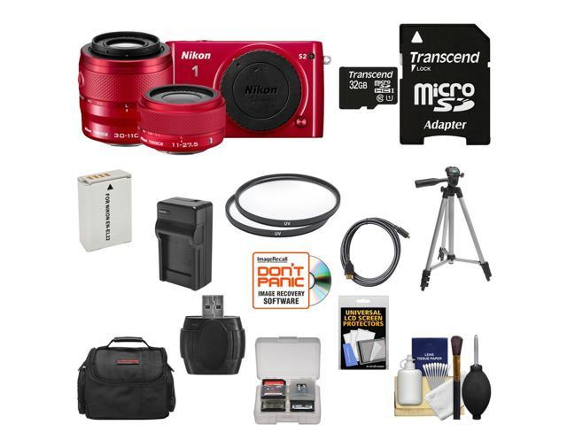 Nikon 1 S2 Digital Camera with 11-27.5mm & 30-110mm VR Lens (Red) with 32GB Card + Case + Battery & Charger + Tripod + Filters ...