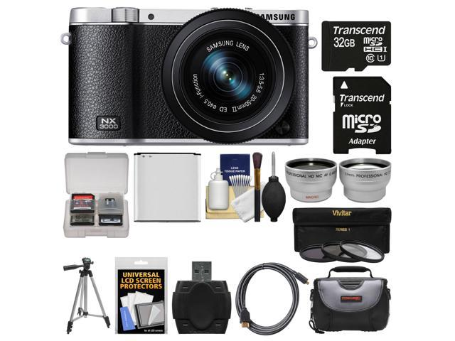 Samsung NX3000 Smart Wi-Fi Digital Camera with 20-50mm Lens & Flash (Black) with 32GB Card + Case + Battery + Tripod + Filter + Tele/Wide ...