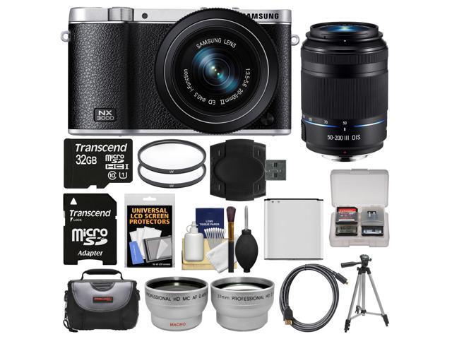 Samsung NX3000 Smart Wi-Fi Digital Camera with 20-50mm Lens & Flash (Black) with 50-200mm Lens + 32GB Card + Case + Battery + Tripod + ...