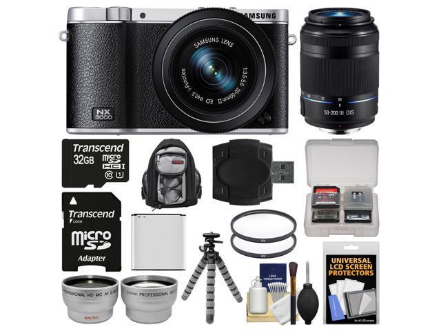 Samsung NX3000 Smart Wi-Fi Digital Camera with 20-50mm Lens & Flash (Black) with 50-200mm Lens + 32GB Card + Backpack + Battery + Flex Tripod ...
