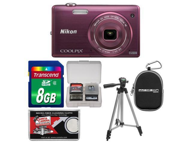 Nikon Coolpix S5200 Wi-Fi Digital Camera (Plum) - Factory Refurbished with 8GB Card + Case + Tripod + Accessory Kit