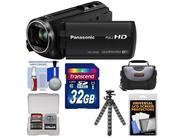 Panasonic HC-V250K HD Wi-Fi Video Camera Camcorder with 32GB Card + Case + Flex Tripod + Accessory Kit