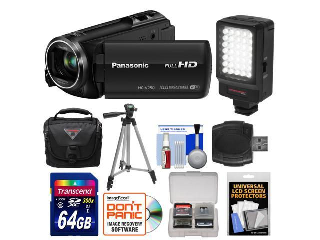 Panasonic HC-V250K HD Wi-Fi Video Camera Camcorder with 64GB Card + LED Video Light + Case + Tripod + Accessory Kit