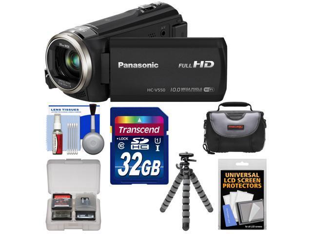 Panasonic HC-V550K HD Wi-Fi Video Camera Camcorder with 32GB Card + Case + Flex Tripod + Accessory Kit