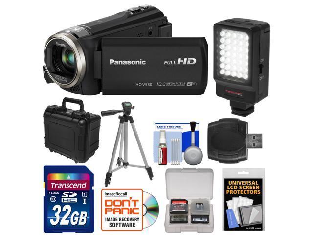 Panasonic HC-V550K HD Wi-Fi Video Camera Camcorder with 32GB Card + LED Video Light + Hard Case + Tripod + Accessory Kit