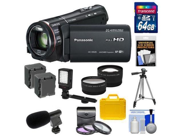 Panasonic HC-X920 3MOS Ultrafine Full HD Wi-Fi Video Camera Camcorder (Black) with 64GB Card + Batteries + Hard Case + Video Light + Mic + ...