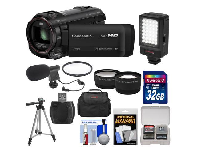 Panasonic HC-V750K HD Wi-Fi Video Camera Camcorder with 32GB Card + Case + LED Light + Mic + Tripod + Filter + Tele/Wide Lens Kit ...