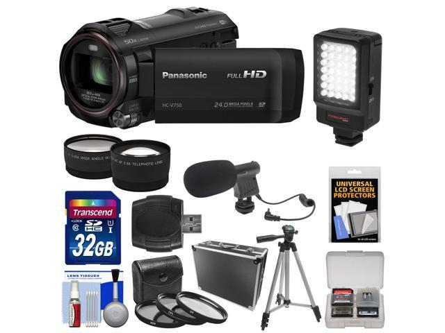 Panasonic HC-V750K HD Wi-Fi Video Camera Camcorder with 32GB Card + Hard Case + LED Light + Mic + Tripod + 3 Filters + Tele/Wide ...