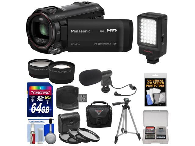 Panasonic HC-V750K HD Wi-Fi Video Camera Camcorder with 64GB Card + Case + LED Light + Mic + Tripod + 3 Filters + Tele/Wide Lens ...
