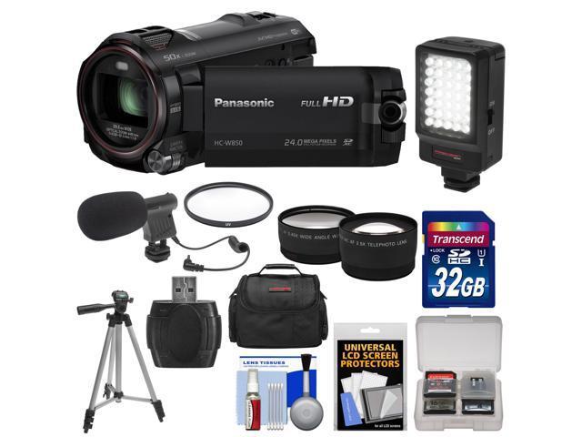 Panasonic HC-W850K Twin Recording HD Wi-Fi Video Camera Camcorder with 32GB Card + Case + LED Light + Mic + Tripod + Filters + Telephoto/Wide ...
