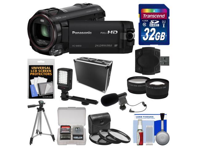 Panasonic HC-W850K Twin Recording HD Wi-Fi Video Camera Camcorder with 32GB Card + Hard Case + LED Light + Mic + Tripod + 3 Filters ...
