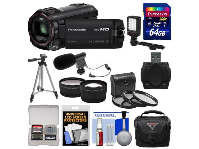 Panasonic HC-W850K Twin Recording HD Wi-Fi Video Camera Camcorder with 64GB Card + Case + LED Light + Mic + Tripod + 3 Filters + ...