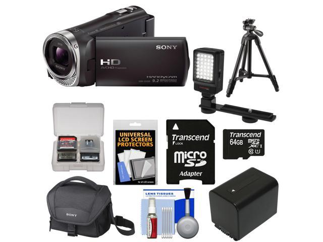Sony Handycam HDR-CX330 1080p Full HD Video Camera Camcorder (Black) with 64GB Card + Battery + Case + LED Video Light + Tripod + Accessory ...
