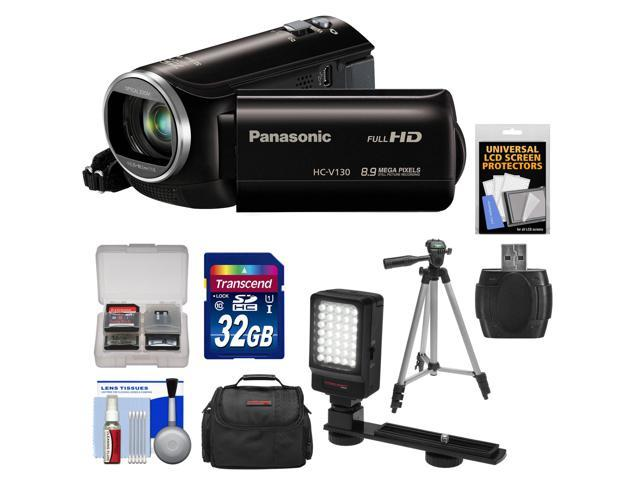 Panasonic HC-V130K Video Camera Camcorder with 32GB Card + Case + LED Video Light + Tripod + Kit