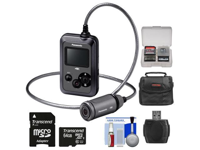 Panasonic HX-A500H 4K HD 25p POV Wearable Waterproof Video Camera Camcorder (Gray) with 64GB Card + Case + Kit