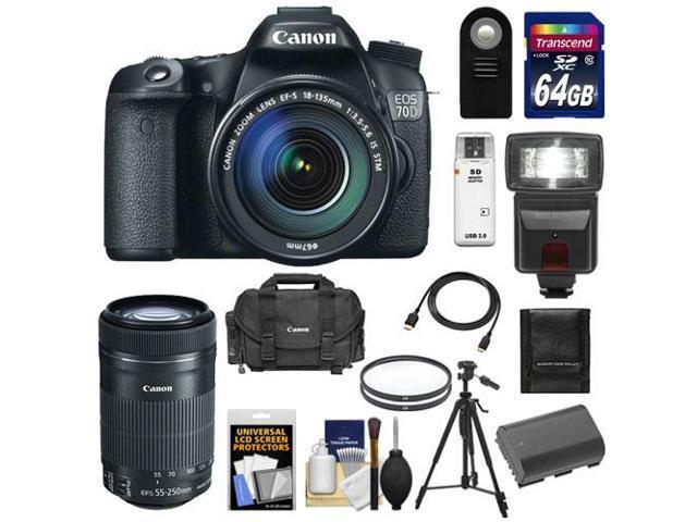 Canon EOS 70D Digital SLR Camera & EF-S 18-135mm IS STM Lens with 55-250mm IS STM Lens + 64GB Card + Battery + Case + ...