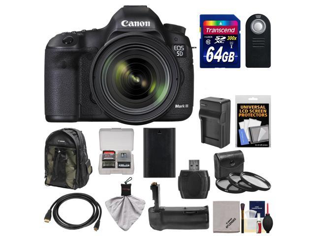Canon EOS 5D Mark III Digital SLR Camera with EF 24-70mm f/4.0L IS USM Lens & 64GB Card + Backpack + Grip + Battery & ...