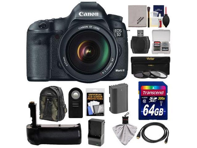 Canon EOS 5D Mark III Digital SLR Camera with EF 24-105mm L IS USM Lens with 64GB Card + Battery & Charger + Grip + ...