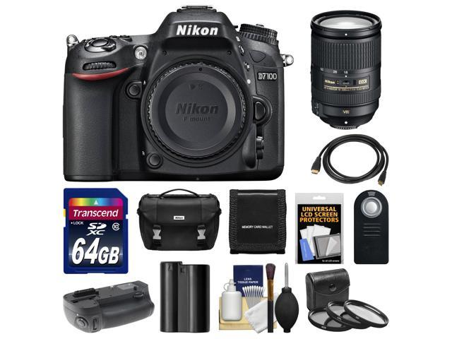 Nikon D7100 Digital SLR Camera Body with 18-300mm VR Lens + 64GB Card + Case + Battery & Grip + HDMI Cable + Filter Set ...