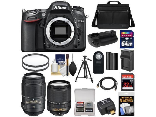 Nikon D7100 Digital SLR Camera with 18-140mm & 55-300mm VR Lenses, WU-1a, Bag & 32GB Card + 64GB Card + Battery & Charger + Grip ...